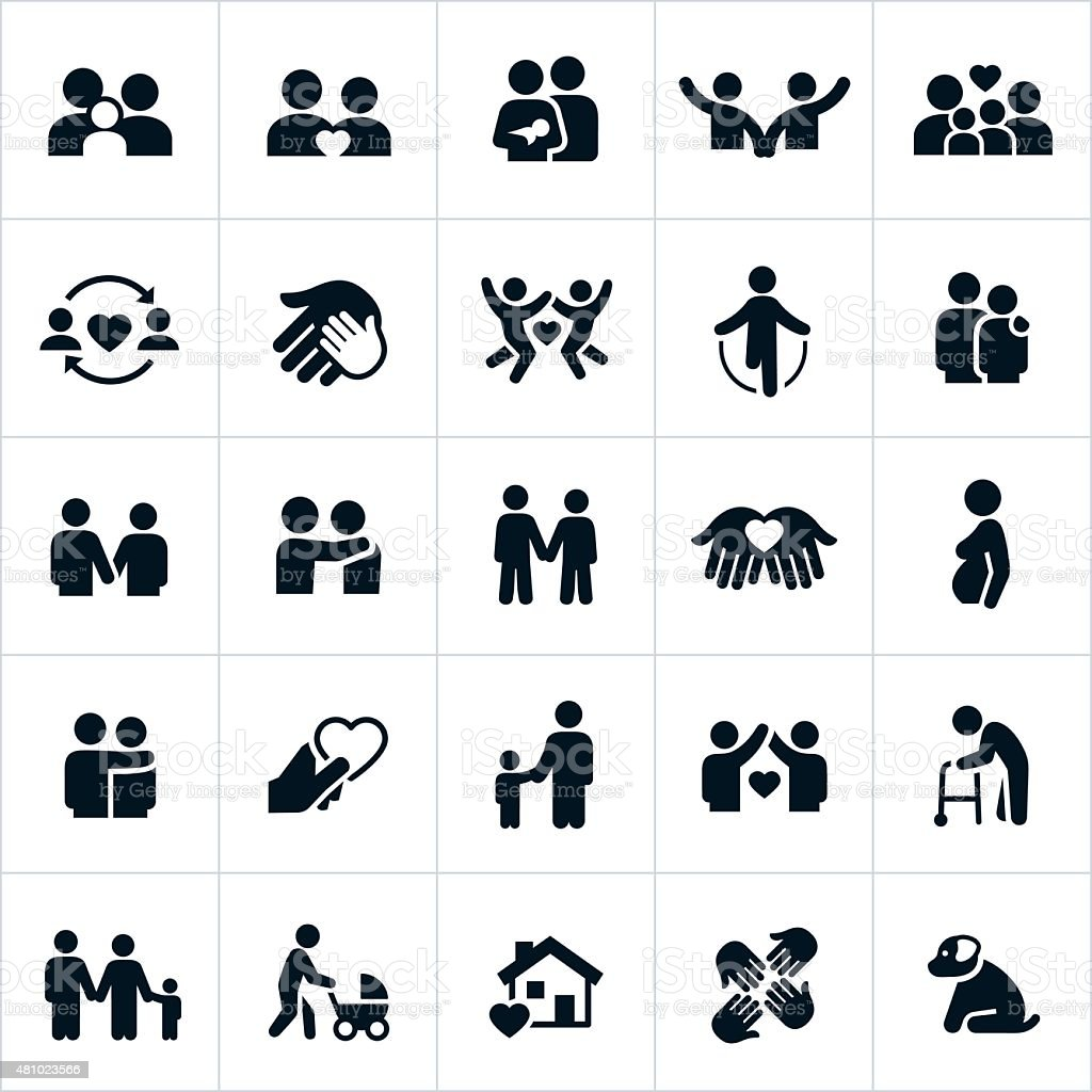 Couples and Family Relations Icons vector art illustration