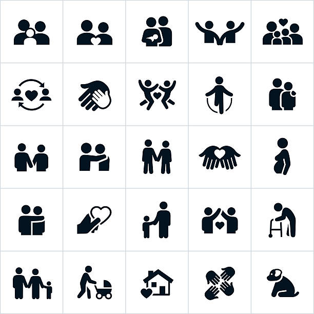 couples and family relations icons - old man in black stock illustrations, clip art, cartoons, & icons