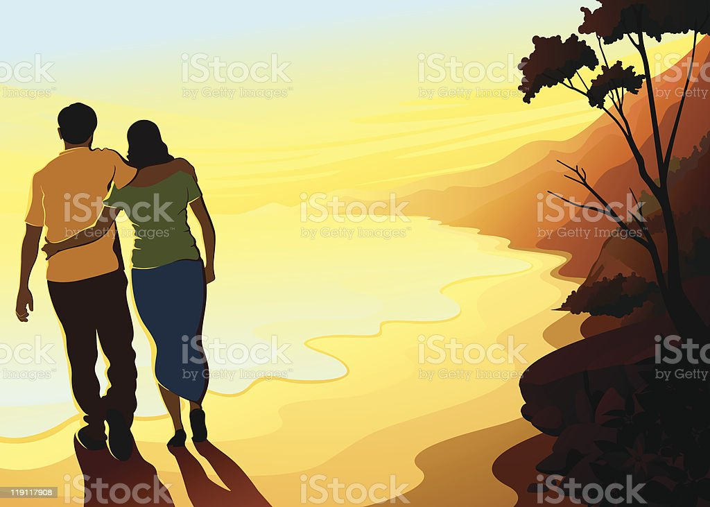 Couples at Beach vector art illustration