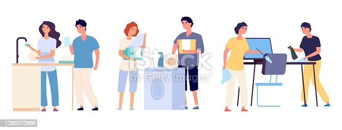 istock Couples clean the house. Man woman cleaners housework sweep household equipment vector cartoon characters 1285072866