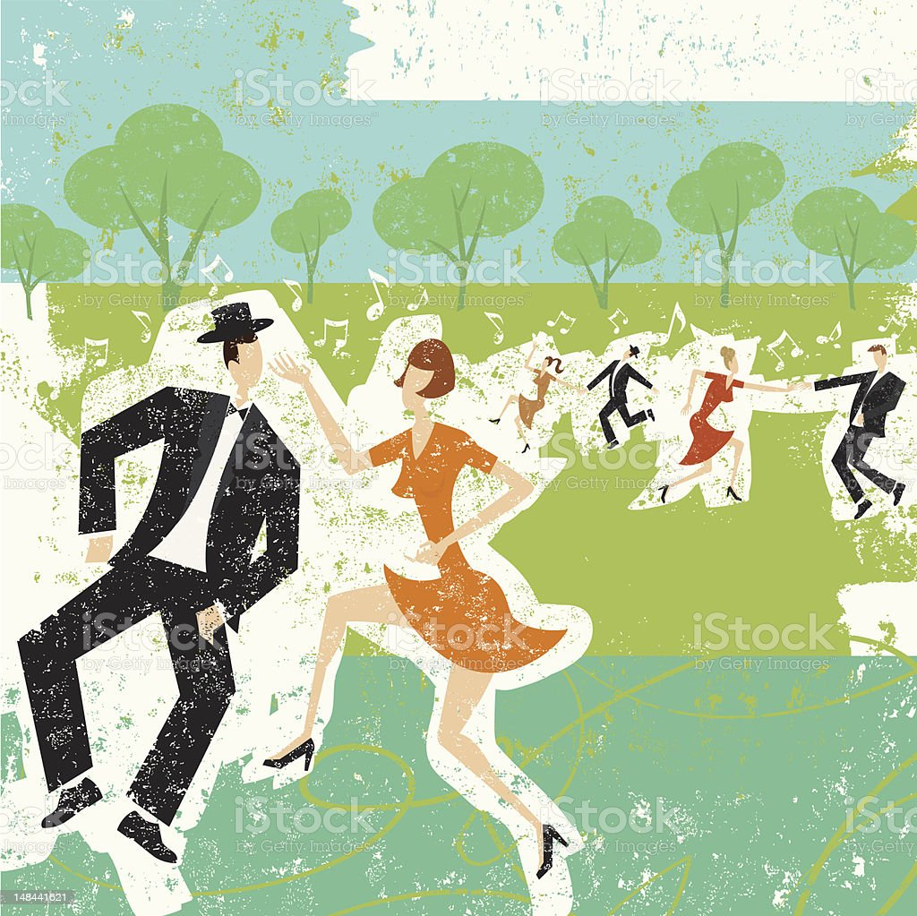 Couples dancing in a park royalty-free stock vector art