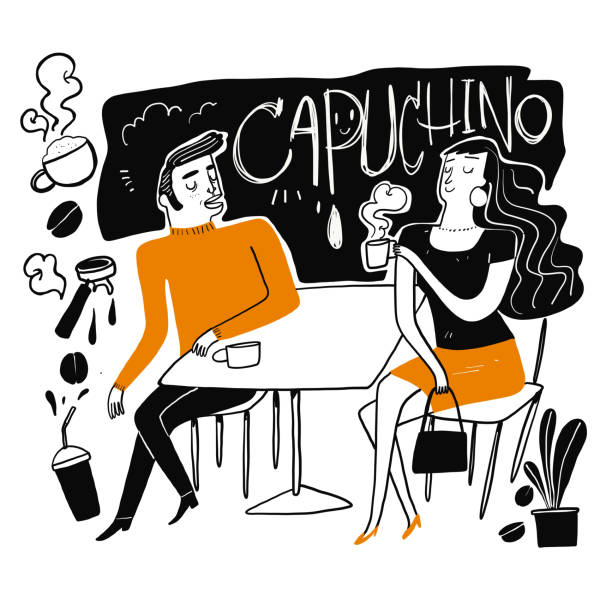 Couples drink coffee. Couples drink coffee. Moments of relaxation or rest from heavy work. The appearance and lifestyle. Collection of hand drawn. Vector illustration in sketch doodle style,Painting strokes, semi-abstract girlfriend stock illustrations