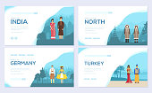 couples from different countries of the world. Traditional clothing of different nationalities brochure card set. Invitation template of flyer, web banner, ui header, enter site. Layout