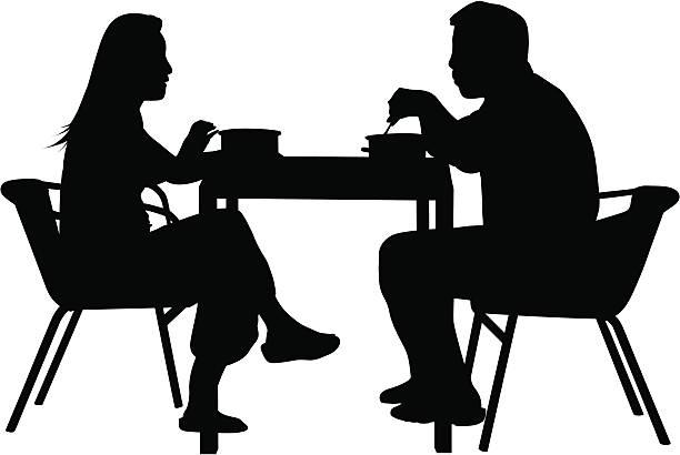 illustrazioni stock, clip art, cartoni animati e icone di tendenza di coppia avendo una cena - dinner couple restaurant