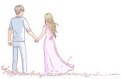 Lovers couple in love having romantic dating. Rear view of man and woman. girlfriend and boyfriend, holding hands. Relationship honeymoon, leisure time concept.Vector doodles hand drawn style.