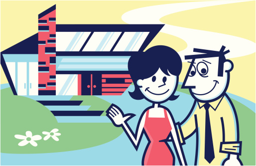 illustration of a couple in front of their home