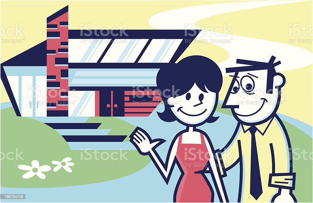 couple's home vector art illustration