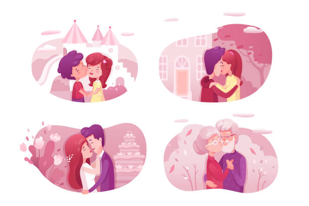 couples in love kissing vector illustrations set. - old man kissing stock illustrations, clip art, cartoons, & icons