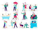 Couples in love. Love couple on date, lover makes proposal to sweetheart in restaurant. Hugs and kisses, boyfriend and girlfriend romantic valentine day celebrating. Vector illustration icons set