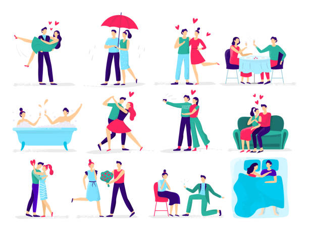 couples in love. love couple on date, lover makes proposal to sweetheart in restaurant. hugs and kisses vector illustration set - couple stock illustrations
