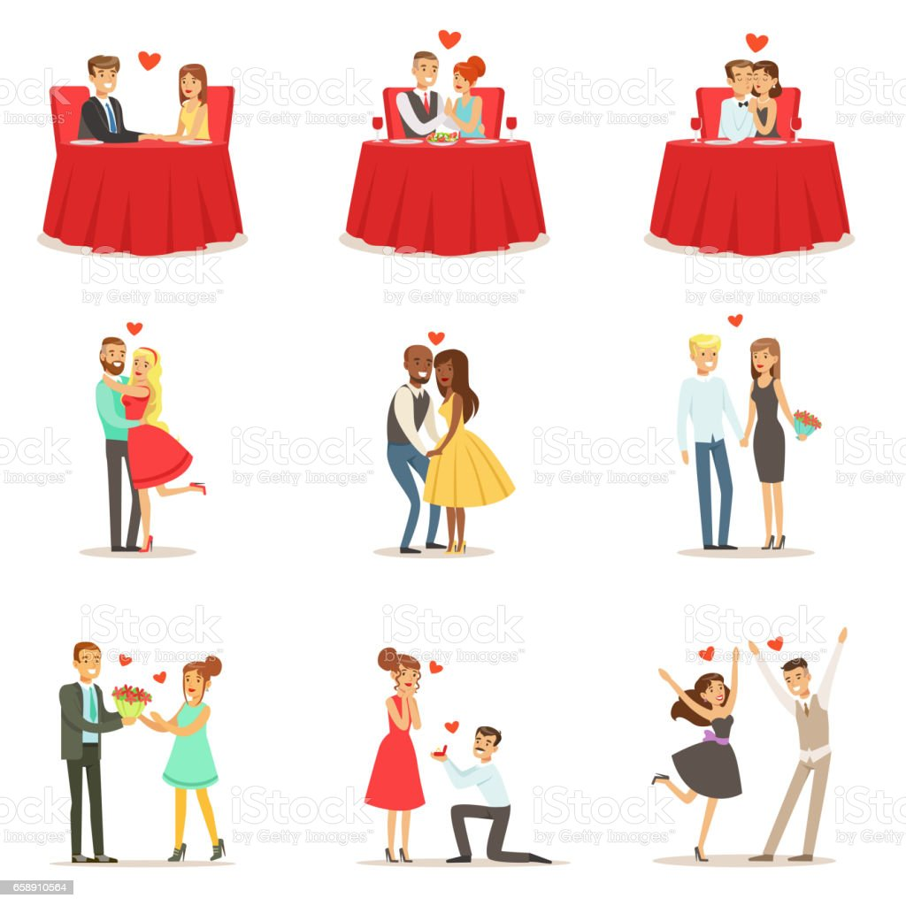 Couples In Love Romantic St. Valentine s Day Date, Lovers And Romance Set Of Vector Illustrations vector art illustration
