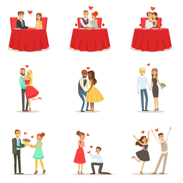 couples in love romantic st. valentine s day date, lovers and romance set of vector illustrations - couples stock illustrations, clip art, cartoons, & icons