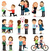 Couples in love set. Lovers man and woman in love vector illustration