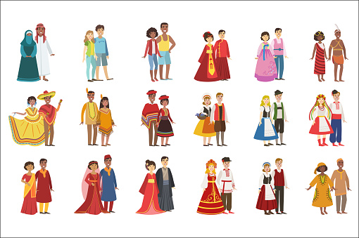 Couples In National Clothes Set