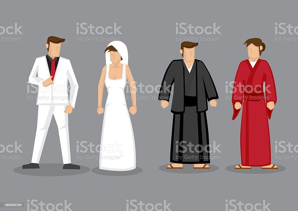 Couples in Western Style Wedding Costume and Japanese Traditiona vector art illustration