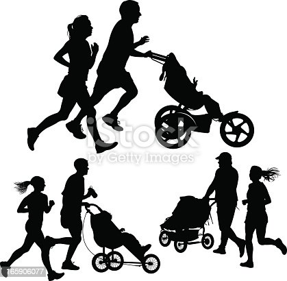 Couples Jogging Or Exercising With Baby Stroller Stock
