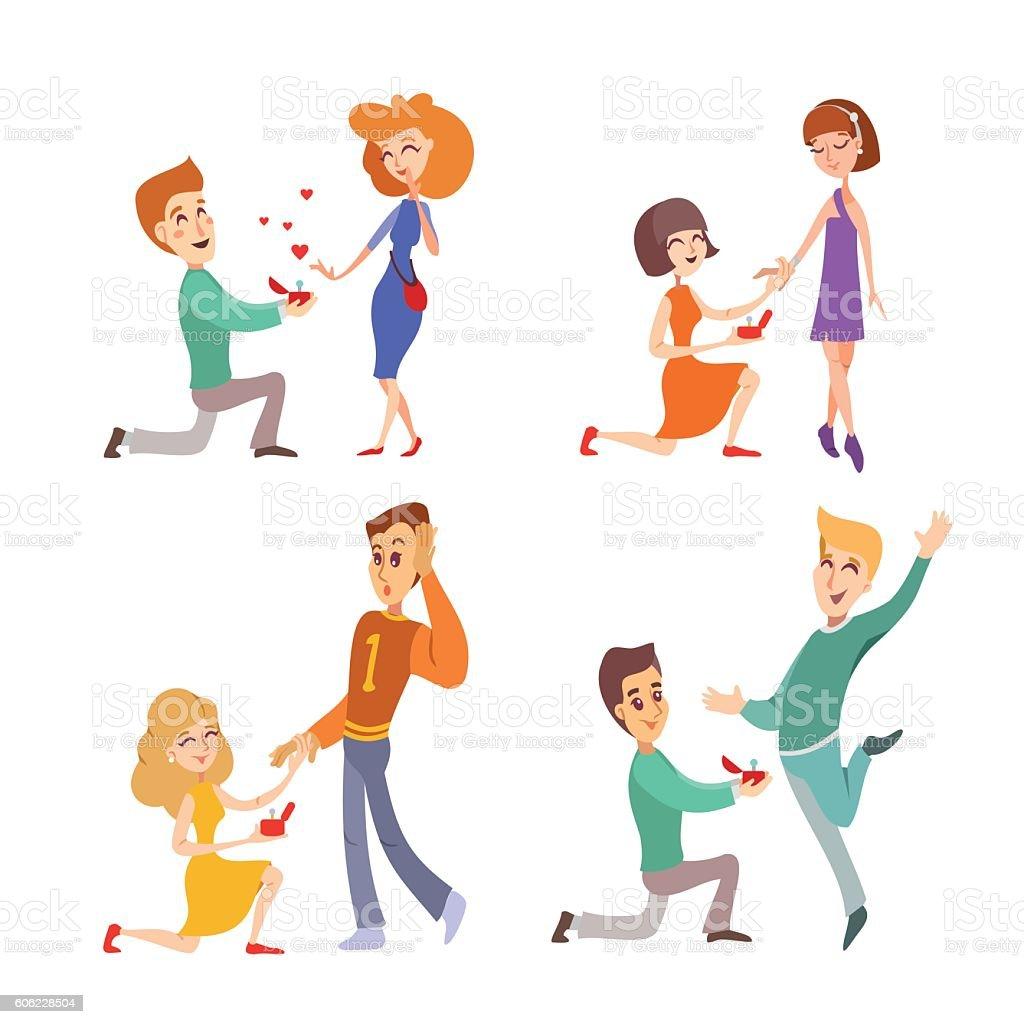 Couples making suggestion of marriage - ilustración de arte vectorial