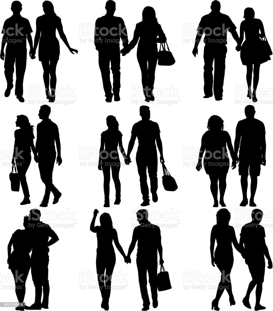 Couples man and woman silhouettes on a white background. vector art illustration