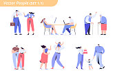 Flat vector characters isolated on white background.
