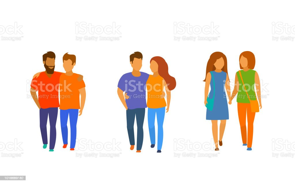 couples of different sexual orientation isolated vector graphic vector art illustration