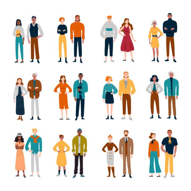 stockillustraties, clipart, cartoons en iconen met paren van diverse mensen. vrienden, paren zakelijke collega's - jonge mannen