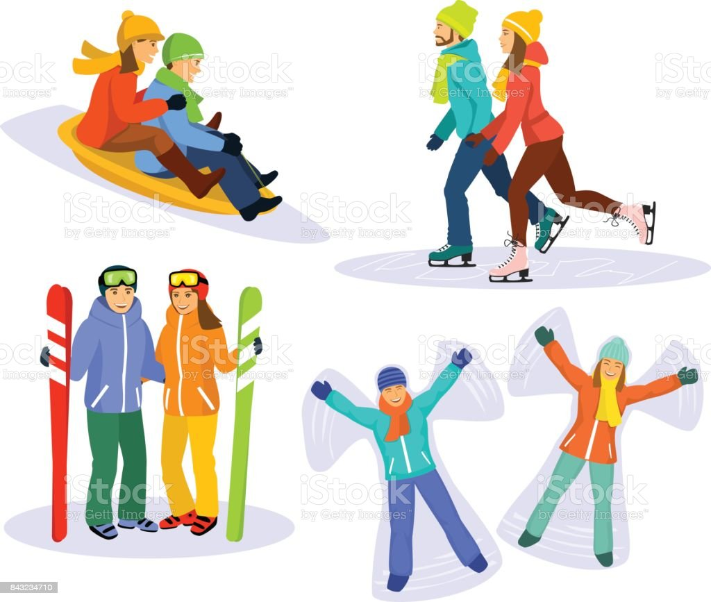 Couple's snow and ice fun winter activities: sledding, ice skating, skiing and lying on snow and laughing vector art illustration