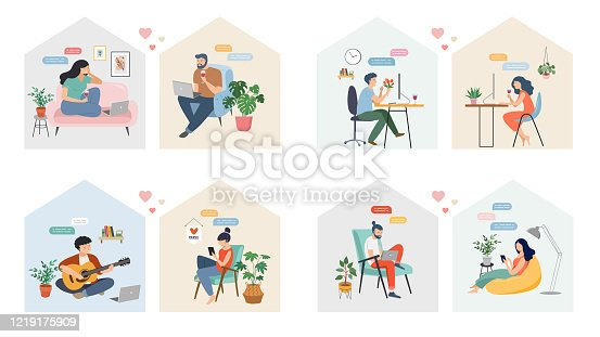 istock Couples with smartphones, tablets and laptops chatting online, during coronavirus self isolation, quarantine. Virtual dating concept. Vector illustration 1219175909