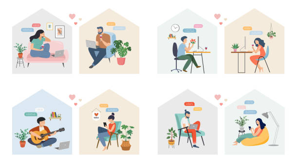 Couples with smartphones, tablets and laptops chatting online, during coronavirus self isolation, quarantine. Virtual dating concept. Vector illustration vector art illustration