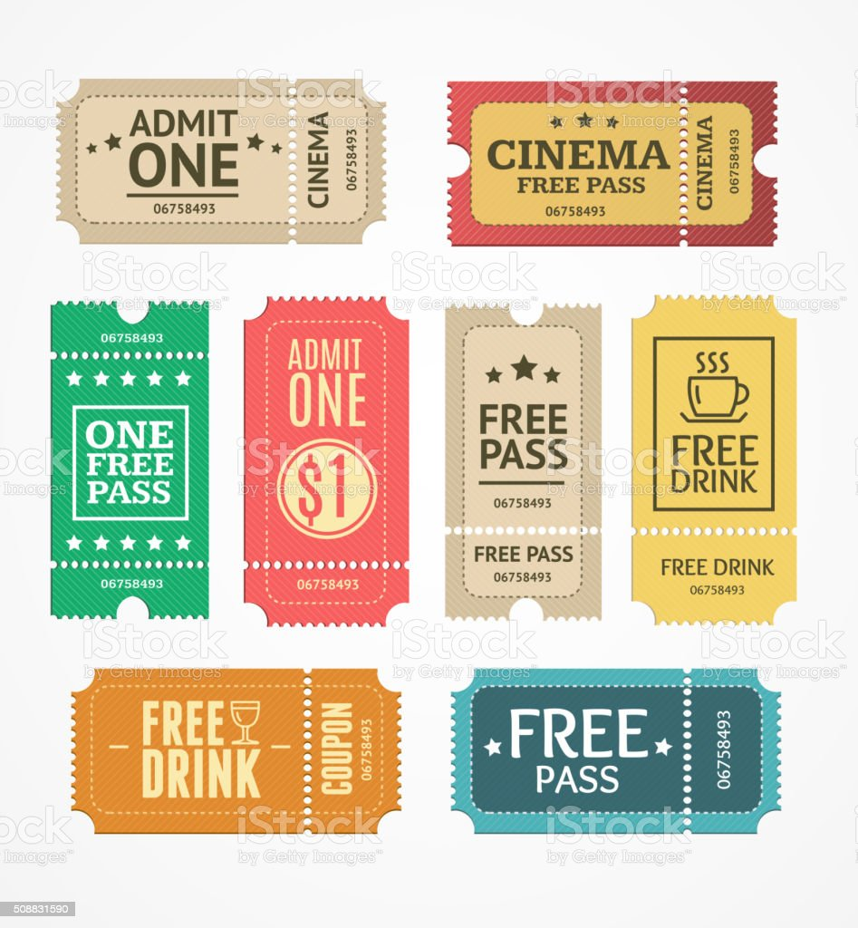 Coupon and Tickets Set. Vector vector art illustration