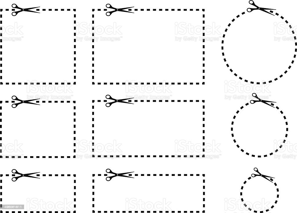Coupon Borders With Scissors Vector illustration of a set of coupons with scissors and dashed lines. Advertisement stock vector