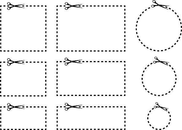 Coupon Borders With Scissors Vector illustration of a set of coupons with scissors and dashed lines. hyphen stock illustrations