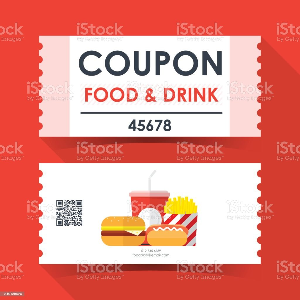 Coupon food and drink ticket card element template for for Free meal coupon template