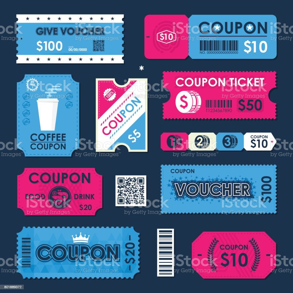 Coupon Gift Voucher Ticket Card Element Template For Design Vector