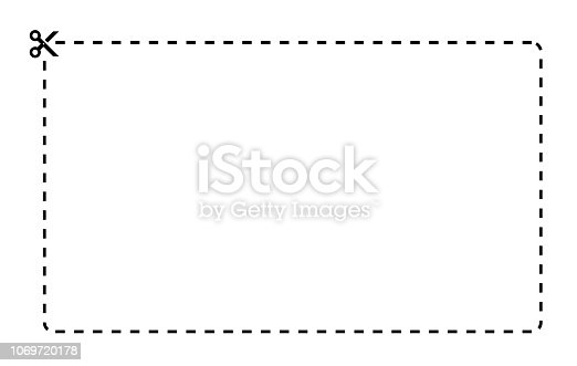 Coupon rectangle vector template. Dashed line with black scissors on white background