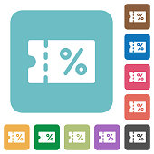 Coupon rounded square flat icons
