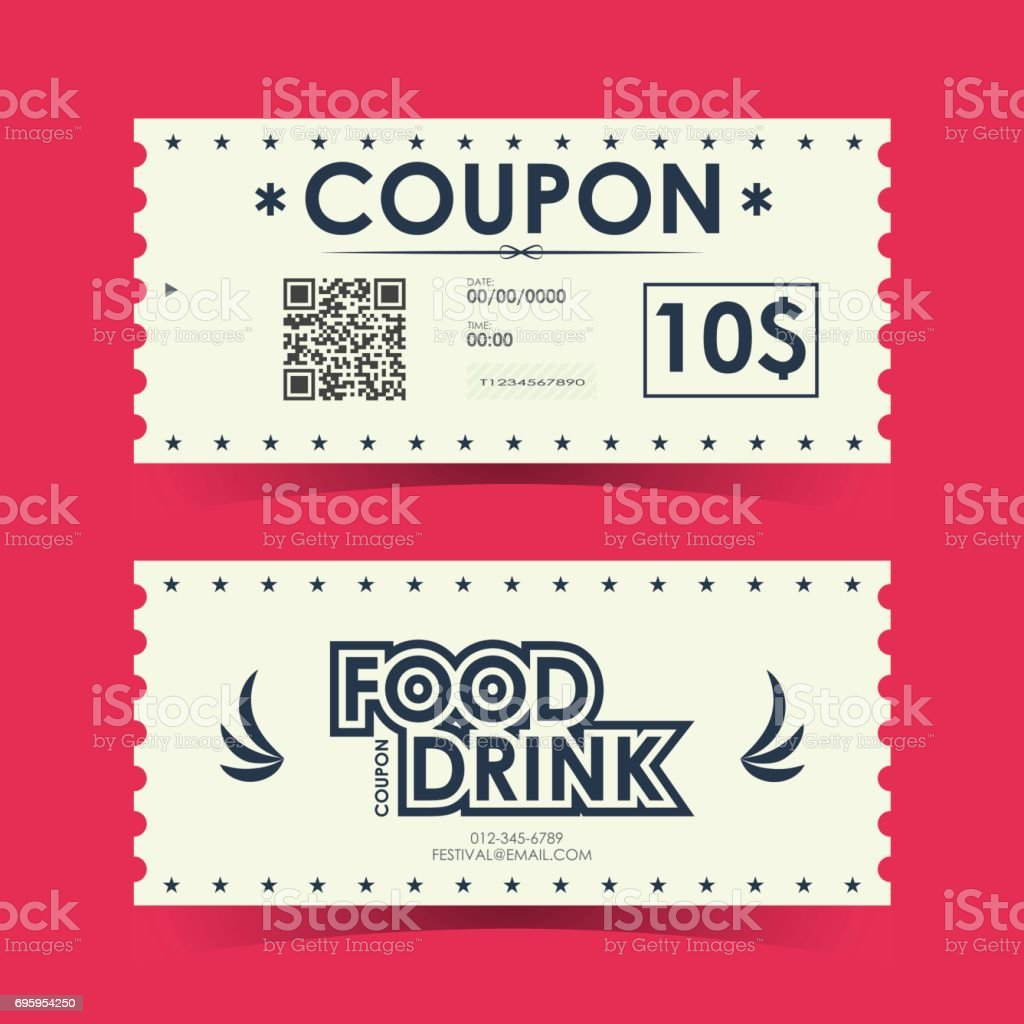 Coupon Ticket Card Element Template For Design Vector Illustration Royalty Free