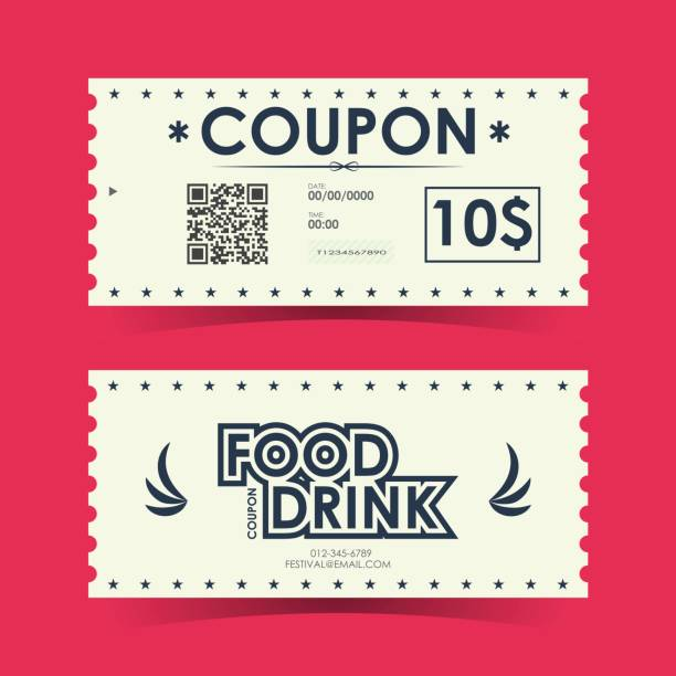 Coupon ticket card. Element template for design. Vector illustration. Coupon ticket card. Element template for design. Vector illustration. coupon stock illustrations