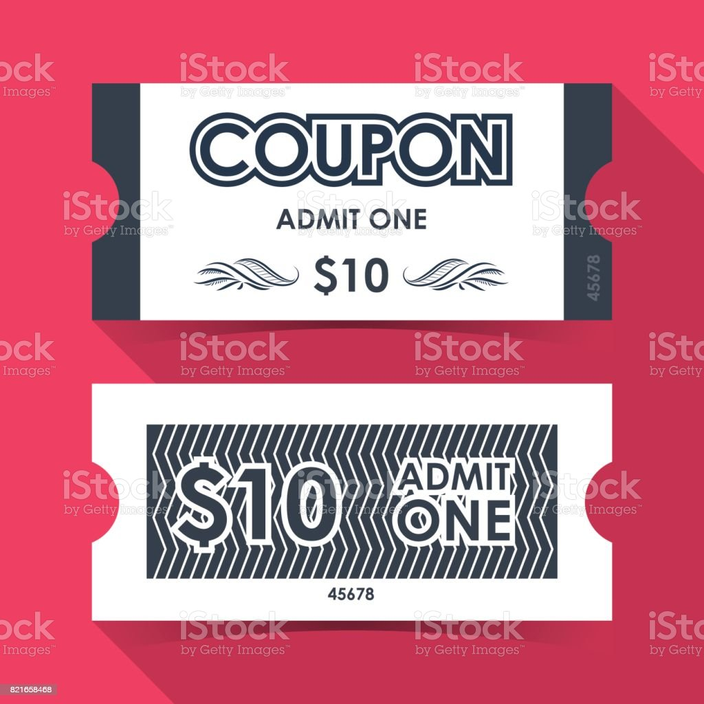 coupon ticket element template design for graphics vector