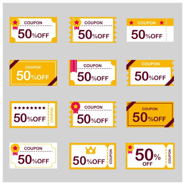 coupon voucher discount ticket vector coupon voucher discount ticket vector coupon stock illustrations