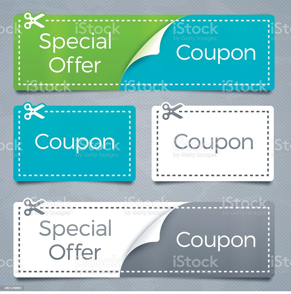 Coupons and Special Offer Savings vector art illustration