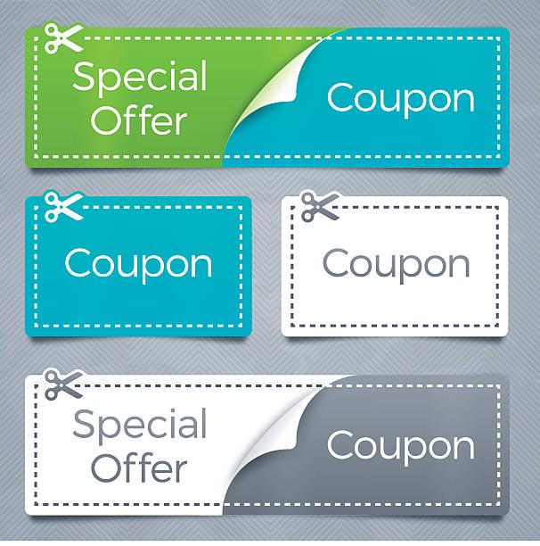 illustrazioni stock, clip art, cartoni animati e icone di tendenza di buoni e offerta speciale risparmio - coupon
