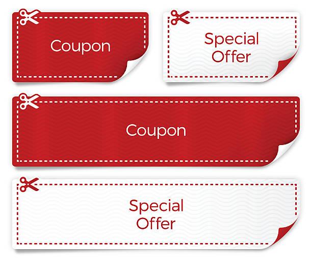 illustrazioni stock, clip art, cartoni animati e icone di tendenza di coupons and special offer templates - coupon