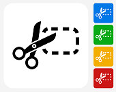 Coupons Cutting Icon. This 100% royalty free vector illustration features the main icon pictured in black inside a white square. The alternative color options in blue, green, yellow and red are on the right of the icon and are arranged in a vertical column.
