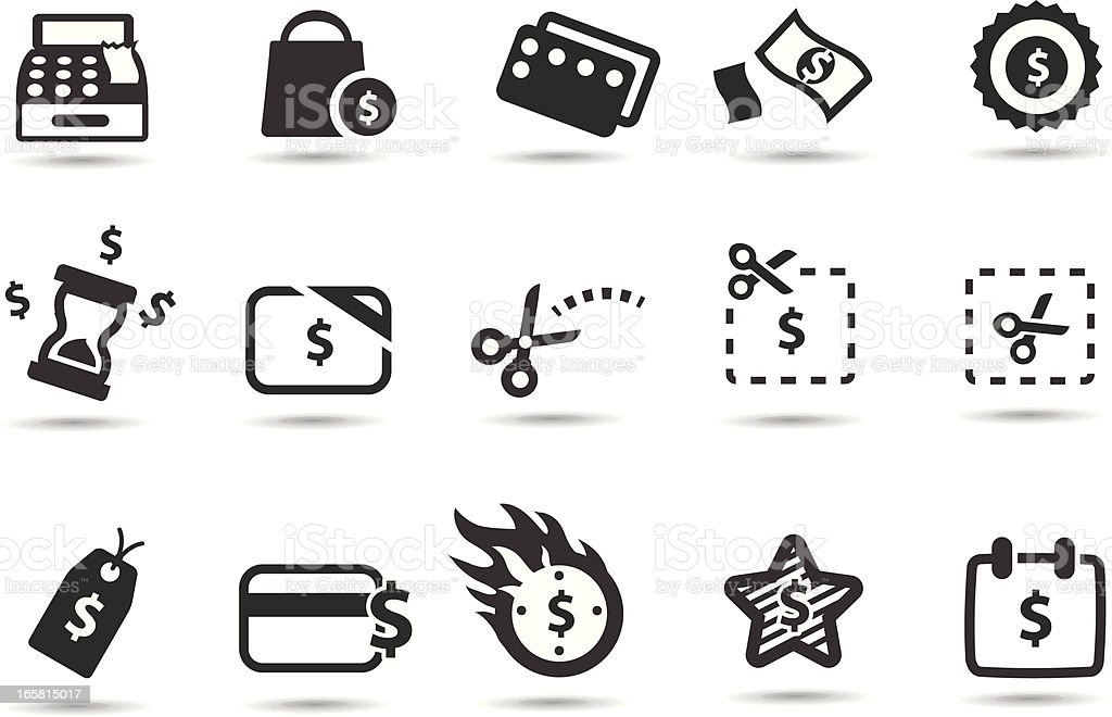 Coupons, Deals and Saving Icons vector art illustration