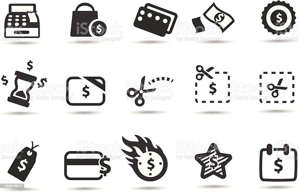 Les Coupons, promotions et icônes de l'enregistrement - Illustration vectorielle