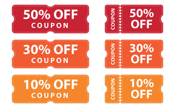 Coupons discount banner 50%, 30% and 10% off offers Tickets coupons discount label offers, vector graphic design element artwork coupon stock illustrations