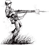 Line art vector of a Courageous U.S. soldier in combat, shooting 2 rifles. Isolated on white.