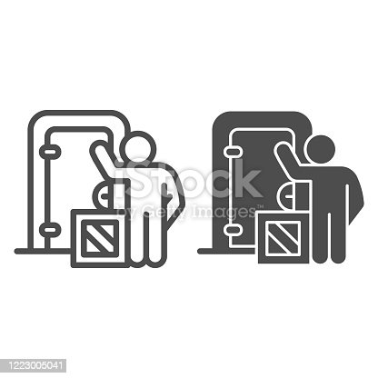 istock Courier at door with box line and solid icon, delivery service symbol, contactless delivery vector sign on white background, human with cardboard package icon in outline style. Vector graphics. 1223005041