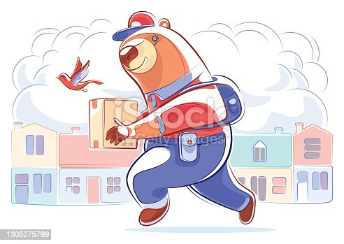 istock courier bear carrying parcel 1305275799