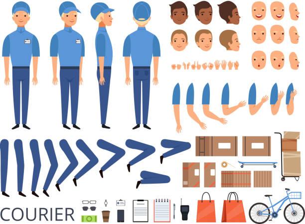 stockillustraties, clipart, cartoons en iconen met courier vak de animatie van het karakter. lichaam delen hoofd wapens cap handen van magazijn werknemer gezichten vector creatie kit - warenhuismedewerker